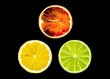 Siciliaanse rode geïsoleerde sinaasappel, citroen en kalk Royalty-vrije Stock Foto