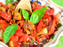 Sicilian appetizer plate,caponata Stock Photos
