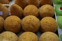 Sicilian arancini rice fried balls. Sicilian arancini detail rice fried balls Stock Photos