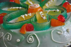 Sicilian bakery. Traditional cake - cassata siciliana -. Artful decorated traditional Sicilian cake - cassata siciliana - with ricotta cheese filling, orange stock images