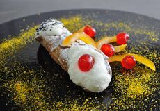 Sicilian Bakery. Traditional Pastry Cannolo Stock Photos