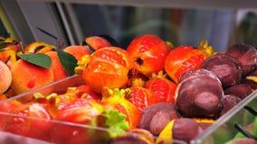 Sicilian bakery. Traditional pastry frutti di martorana Royalty Free Stock Images