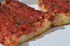 Sicilian bakery. Traditional sfincione tomato pizza Stock Images