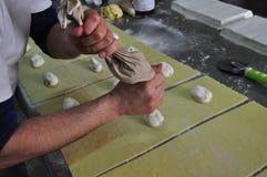 Sicilian bakery workshop. Traditional pastry cassatella Stock Photography
