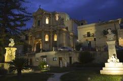 Sicilian Baroque in the night Stock Image