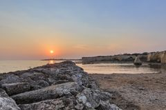 Beach of Punta Cirica at sunset stock photos