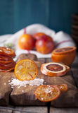 Sicilian Bloody Red Oranges Candied Slices. Royalty Free Stock Photo