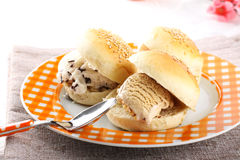 Sicilian brioche with ice cream Royalty Free Stock Images