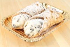 Sicilian cannoli Arkivfoton