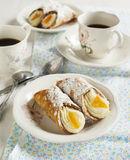 Sicilian cannoli with orange. Stock Photo