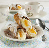 Sicilian cannoli with orange. Stock Images