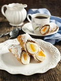 Sicilian cannoli with orange. Stock Photography
