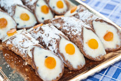 Sicilian cannoli with orange Royalty Free Stock Photo