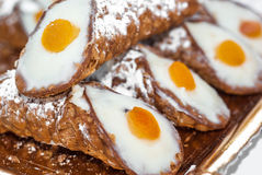 Sicilian cannoli with ricotta and candied orange Stock Photography