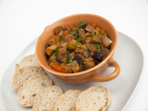Sicilian caponata. Traditional Sicilian dish with eggplant stock images
