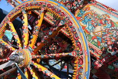 Sicilian cart. Art, painting wooden wheels, a typical Stock Images