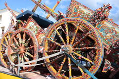 Sicilian cart. Art, painting wooden wheels, a typical Royalty Free Stock Photography