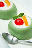 Sicilian cassata. Dessert on white dish royalty free stock image