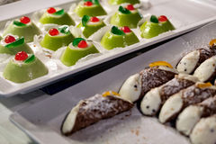 Sicilian cassata and cannoli. A traditional sweet from Sicily, Italy royalty free stock photos