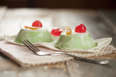 Sicilian cassata. Tradidional sicilian cassata dessert on wooden table stock image