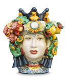Sicilian ceramic head isolated. Traditional Testa di Moro Sicilian cutout ceramic head on white royalty free stock photos