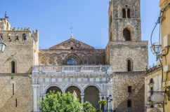 View of the facade of the cathedral of monreale royalty free stock photos