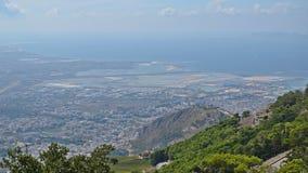 Sicilian coast and city of Trapani Stock Image