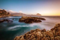 The Sicilian coast at sunset Stock Photo