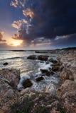 Sicilian coast at sunset Stock Photo