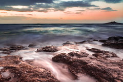 The Sicilian coast at sunset Royalty Free Stock Photo