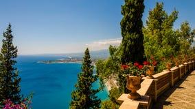 The Sicilian coast from Taormina - Italy. Sicily Italy: The beautiful Sicilian coast view from Taormina On May 26-27 2017, Taormina hosted the Summit of the Royalty Free Stock Photos