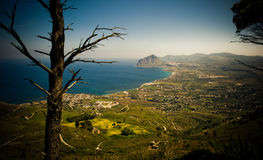 Sicilian coastline, aerial view Stock Photos