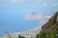 Sicilian coastline. Beautiful view of the sicilian coast from the town of Erice Royalty Free Stock Photo