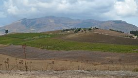 Sicilian countryside landscape. View of interesting landscape of countryside inland Sicily Royalty Free Stock Image