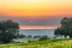 Sicilian countryside at sunset Royalty Free Stock Photography