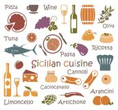 Sicilian cuisine. Set of icons of food and products Royalty Free Stock Photography