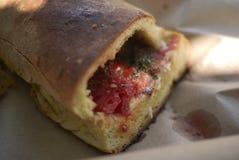 Pane Cunzatu with anchovies. Sicilian fast food called Pane Cunzatu stock photos