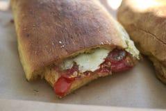 Vegetarian Pane Cunzatu. Sicilian fast food called Pane Cunzatu royalty free stock photos