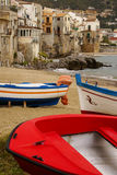 Sicilian fishing boat on the beach in Cefalu, Sicily Royalty Free Stock Photos