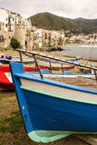 Sicilian fishing boat on the beach in Cefalu, Sicily Stock Photo
