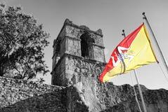 Sicilian flag on old architecture. Commenda, Polizzi Generosa, Sicily Stock Image