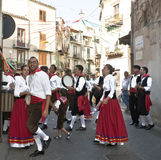 Sicilian folk group from Polizzi Generosa. POLIZZI GENEROSA, SICILY - AUGUST 21: Sicilian folk group from Polizzi G. at the International Festival of hazelnuts stock image