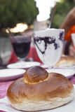 Sicilian granita and brioche. Sicilian granita with mulberry and delicious brioche Royalty Free Stock Photos