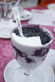 Sicilian granita with whipped cream and mulberry. Messina, Sicily Stock Images