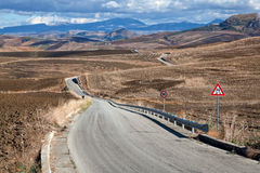 Sicilian hill road Royalty Free Stock Photography