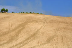 Sicilian hills in Summer. Crop's hills in sicily after the harvest royalty free stock image