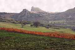 Sicilian landscape. Scenic landscape overlooking country village and valley, Sicily. Marineo stock images