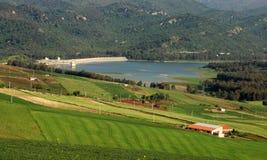 Sicilian landscape. View on the lake of scanzano in sicily stock photo