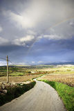 Sicilian landscape with beautiful rainbow Royalty Free Stock Photos