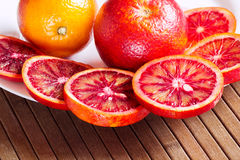Sicilian oranges in a white plate Royalty Free Stock Photo